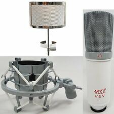 MXL V67G V67P Custom Studio Condenser Microphone Shockmount + Pop Filter