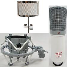 MXL V67G V67P Custom Studio Condenser Microphone Shockmount + Pop Filter