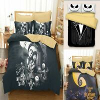 3PCS Nightmare Before Christmas Jack Cover Pillow Cases Quilt Cover Bedding Set