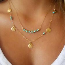 Fashion Women's Turquoise Pendant Chain Chunky Statement Bib Necklace Jewelry