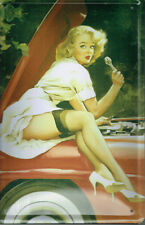 sexy pin-up girl 50´s Suspenders HOOD CAR TIN SIGN 20 x 30 cm (177)