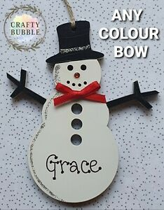Hand made personalised snowman bauble christmas decoration bauble wooden