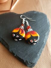 Lampwork drop dangle, silver plated earrings, red 20mm assorted beads (446)