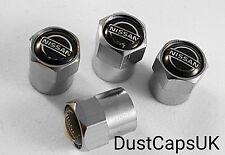 NISSAN Silver Wheel Tyre Valve Dust Caps for Juke Qashqai Micra Skyline Pulsar