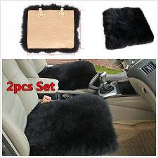 2pcs Sheepskin Long Wool Car Seat Pads Breathable Warm Soft Cover Chair Cushions