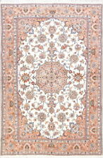 Charming Wool & Silk Floral Ivory 7x10ft Tebriz Persian Area Rug Oriental Carpet