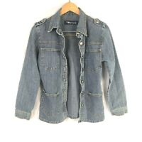 Blue Age denim jean jacket or shirt women's size small  front pocket accent