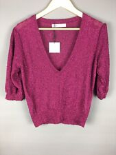 Neues AngebotZara Metallische Italienische Garn Pullover dunkelrosa Größe L