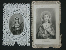 2 Images pieuses dentelle canivets holy cards lace Sainte Philomène Fin XIXème
