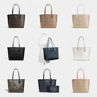 New Coach F36658 Reversible City Tote In Signature Coated Canvas