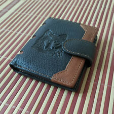 Men's Wolf Retro Natural Genuine Leather Bifold Wallet Credit Card Holder