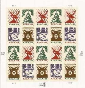 US Stamp - 2007 Christmas Holiday Knits - 20 Stamp Sheet #4207-10