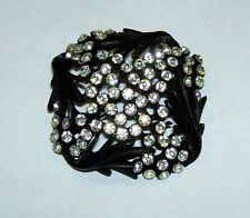 Vintage KARU ARKE Sparkling Clear Rhinestone Japanned Black Frame Pin Brooch