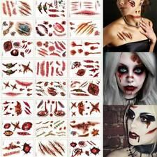 30 Pcs Halloween Temporary Tattoos Stickers Horror Scars Makeup Prop Art Sticker