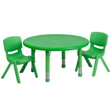 "Flash 33"" Round Adjust Green Plastic Activity Table Set w/2 School Stack Chairs"