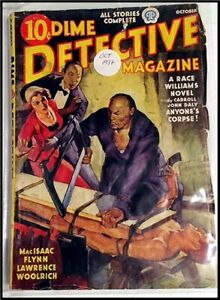 Pulp Magazine: DIME DETECTIVE October 1937. CJ Daly, Woolrich, Flynn stories.