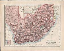 1914 Mappa L'Unione sudafricana Capo di Buona Speranza ORANGE FREE State Transvaal