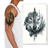 Temporäres Tattoo Wolf Wald Design Klebetattoo Körperkunt