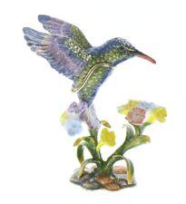 Jeweled Humming Bird on a Flower Trinket Box with Rhinestone Bling