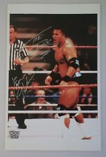 SUPER RARE HAND SIGNED THE ROCK 11 X 17 COLOR PHOTO PLUS EARL HEBNER WWF