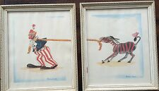 NMC HTF Vintage Circus Pictures  by Pauline James Clown Pulling Donkey