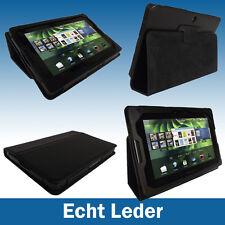 Schwarz Echtes Leder Tasche für BlackBerry Playbook Internet Tablet Hülle Case
