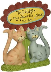 2 Cats Together Favorite Place To Be Flower Resin Blossom Bucket NWT 4 x 5