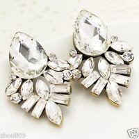 New Lady Woman Elegant clear crystal Rhinestone long Ear Studs hoop earrings 822