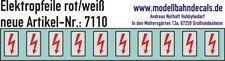 10 H0 Elektropfeile 2,5 x 1,4 mm - rot auf weißem Schild, Decals, 087-7110