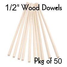 "WOOD DOWELS ~ 1/2"" Diameter x 12"" Long  { Wholesale Lot of 50 } ~ by  PLD"
