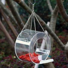 Bird Feeder House Window Garden Outdoor Clear Acrylic Suction Round Bo