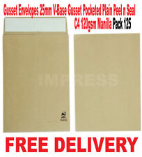 C4 25mm Gusset Envelopes Strong Brown Manilla A4 120gsm Thick Expanding Pack125