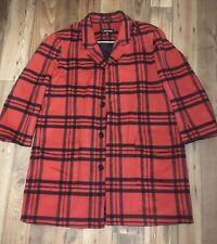 Men's. J. Peterman - Size 52 Red Black Plaid Walking Sport Coat Wool