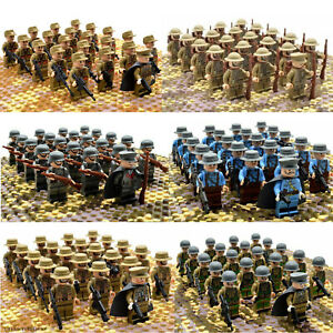 21pcs WW2 Military Army Soldiers Weapons British US Russia Japan etc