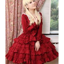 Ladies Gothic Lolita Lace Dress Long Sleeve Princess Party Ball Gown Tutu Dress
