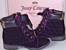 JUICY COUTURE IVONA PURPLE VELVET HEART QUILTED GIRLS' ANKLE BOOTS size 12 NEW