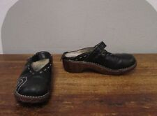 EL NATURA LISTA Black Leather Contrast Stitch Clogs - 36/6