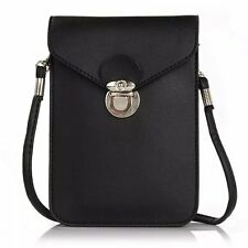 Black Shoulder Hand Bags Case Leather Pouch Purse Sleeve for iPhone 5/6s/7 Plus