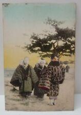 Japanese Children Traditional Kimono Costume, Tinted Art Photo Postcard