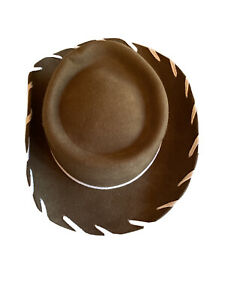 Brown M&F Western 100% WOOL Whipstitch Cowboy Hat Kids Large Woody Style