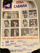 1984 Atlanta Braves Caravan Team Photo Baseball Poster with Schedule Joe Torre