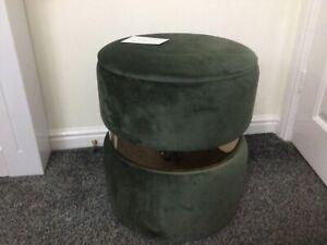 Alison Cork Round Velvet Storage Ottoman - Khaki Green