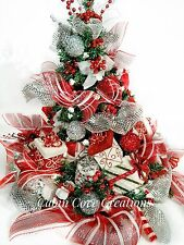 Christmas Tree Floral Arrangement Holiday Centerpiece red white silver Decorated