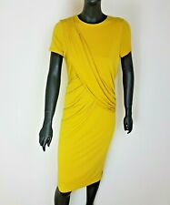 Jasper Conran Dress Bodycon Mustard Lined UK 12 Gathered Waist