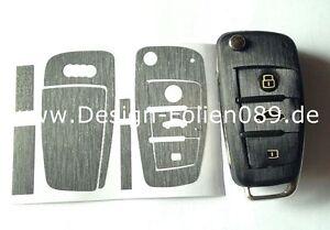 Schwarz Brush Folie Dekor Schlüssel Audi TT A1 8J A6 A3 8p A4 4F S3 S4 B7 Q7 RS
