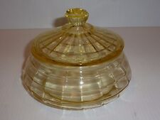 Lovely Hocking Block Optic Yellow Depression Glass Covered Bowl-FLAWS