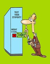 METAL MAGNET Man Money Machine Test Your Stupidity Insert $100 Humor