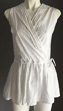 Hippy Chic DE LOURVE White Sleeveless Cross Over Drawstring Waist Blouse Size 12
