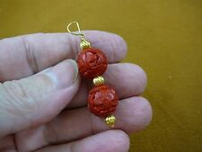 (J-18) RED ROUND CINNABAR Pendant necklace carved wood lacquer bead jewelry