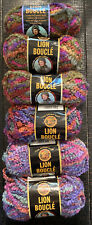 Mixed Lot of 6 Lion Brand Lion Boucle Yarn Colors: Tutti Fruitti & Wild Berries